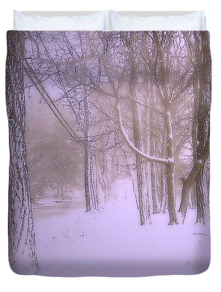 Snowy Landscape Duvet Cover by Mikki Cucuzzo