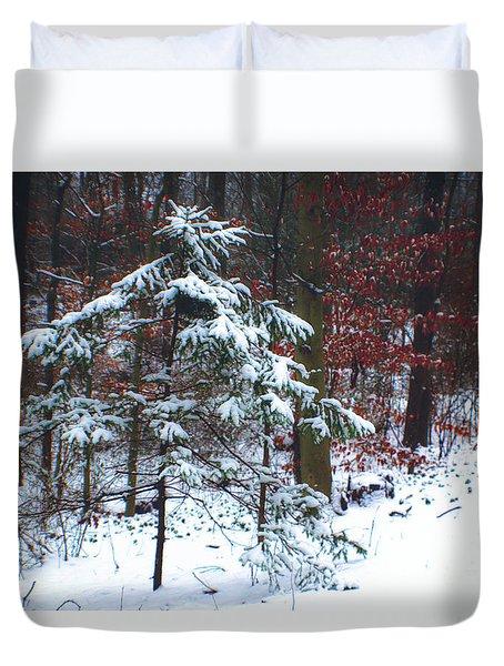 Snowy Little Fir Duvet Cover by Sandy Moulder