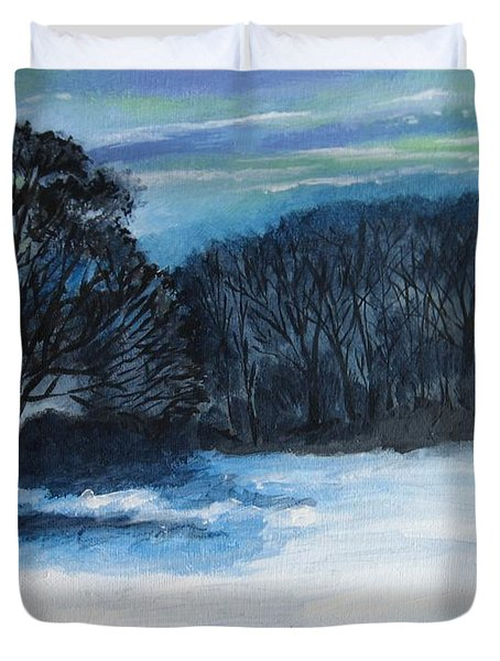 Snowy Moonlight Night Duvet Cover
