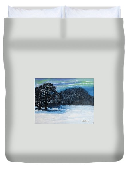 Snowy Moonlight Night Duvet Cover