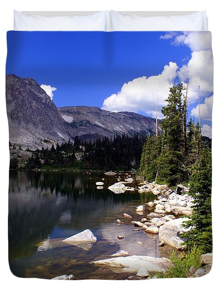 Snowy Mountain Lake Duvet Cover by Marty Koch