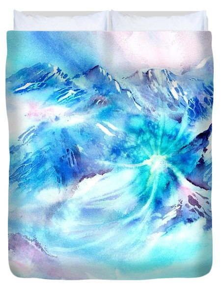 Snowy Mountains Early Morning Duvet Cover