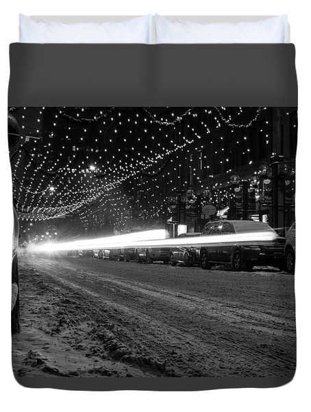 Snowy Night Light Trails Duvet Cover