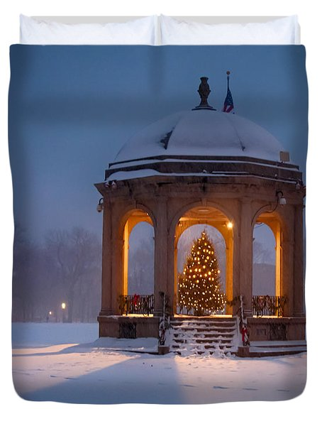 Snowy Night On The Salem Common Duvet Cover