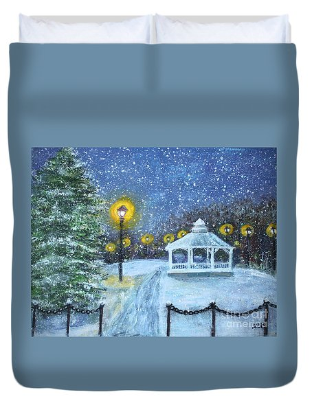 Duvet Cover featuring the painting Snowy Night On The Waltham Common by Rita Brown