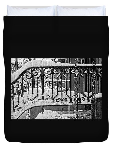 Duvet Cover featuring the painting Snowy Nyc Steps by Joan Reese