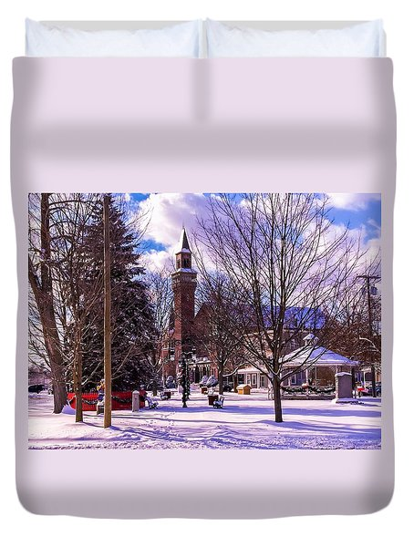 Snowy Old Town Hall Duvet Cover