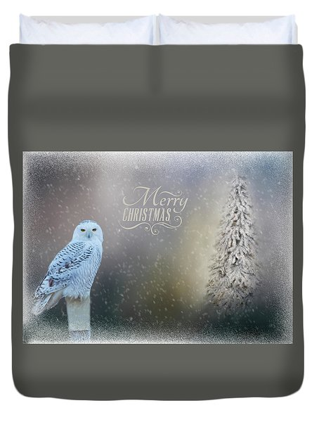 Snowy Owl Christmas Greeting Duvet Cover
