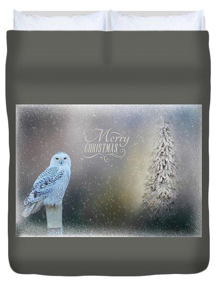 Snowy Owl Christmas Greeting Duvet Cover
