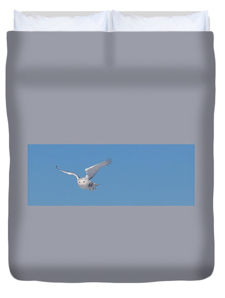 Duvet Cover featuring the photograph Snowy Owl - Dive by Dan Traun