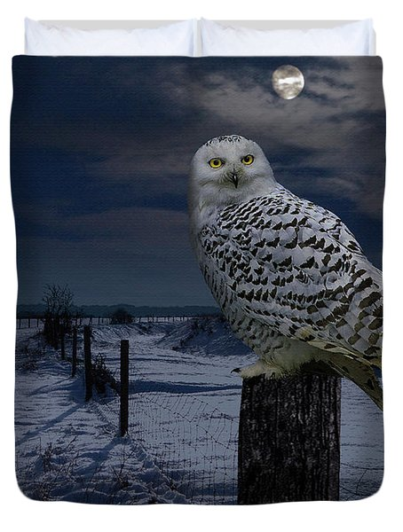 Snowy Owl On A Winter Night Duvet Cover