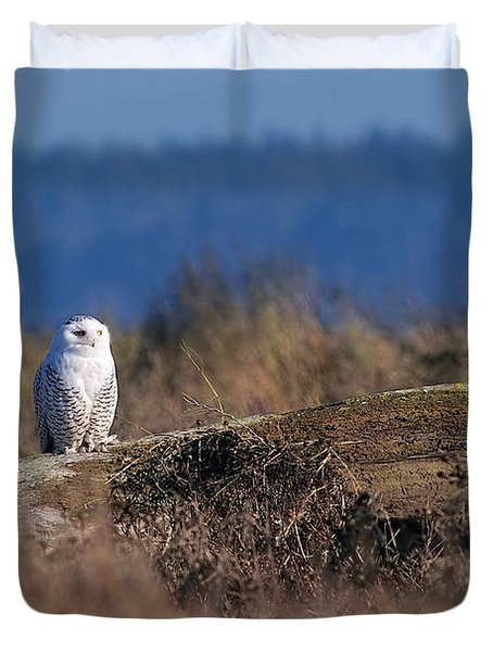 Duvet Cover featuring the photograph Snowy Owl On Log by Sharon Talson