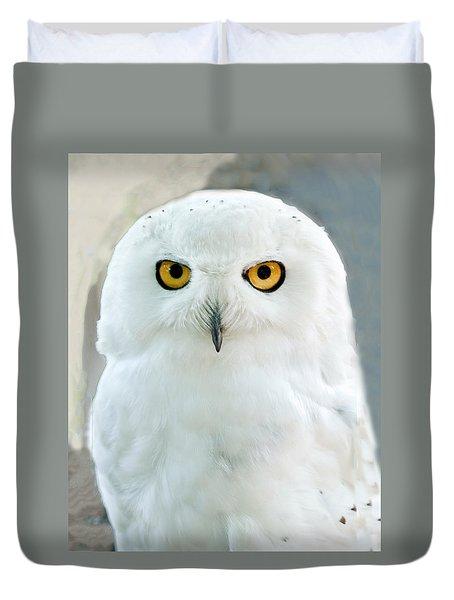 Snowy Owl Portrait Duvet Cover