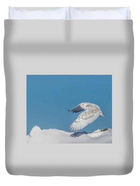 Duvet Cover featuring the photograph Snowy Owl - Taking Flighty by Dan Traun