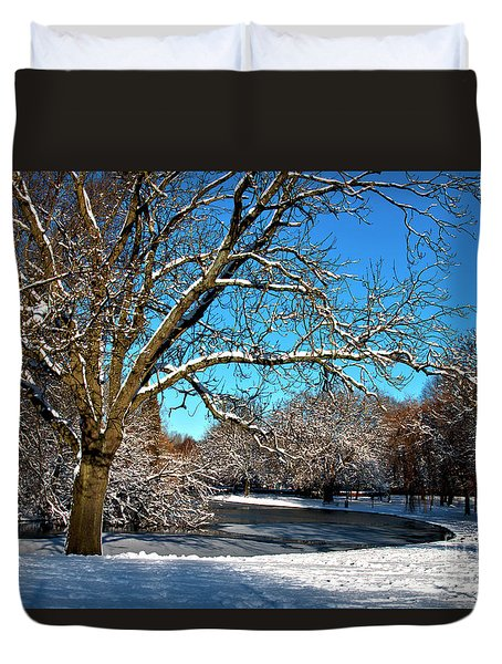 Snowy Pond Duvet Cover