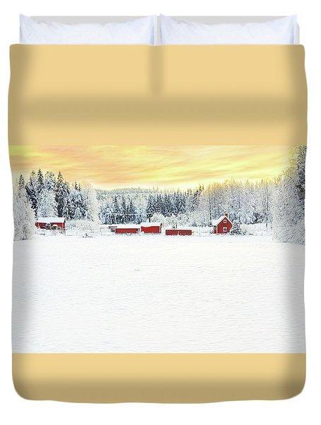 Snowy Ranch At Sunset Duvet Cover