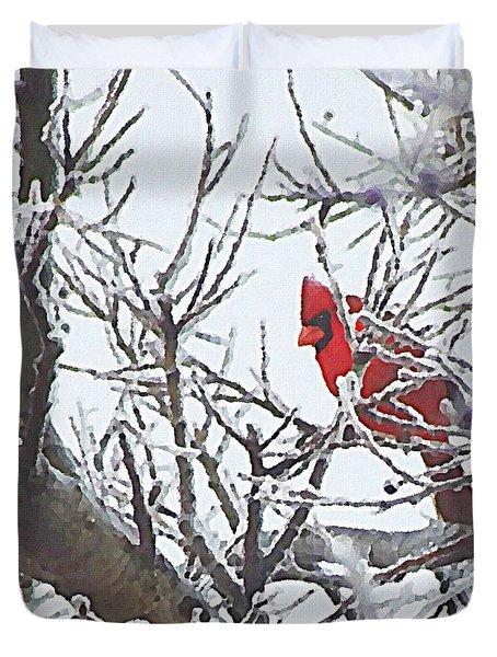 Snowy Red Bird A Cardinal In Winter Duvet Cover