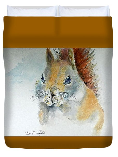 Snowy Red Squirrel Duvet Cover
