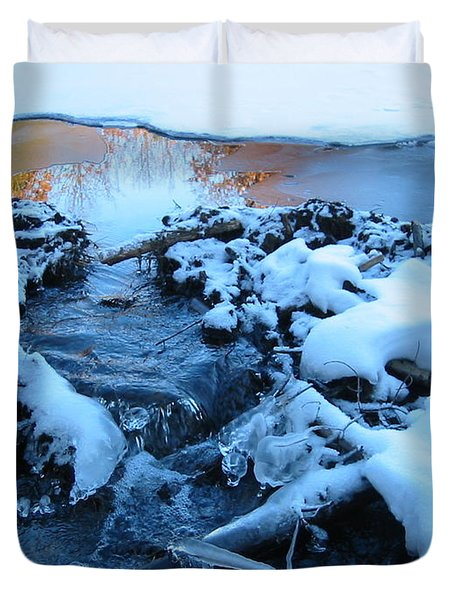 Snowy Reflections Duvet Cover by Angela Murray