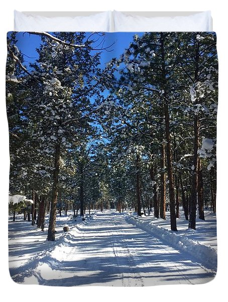 Snowy Road Duvet Cover