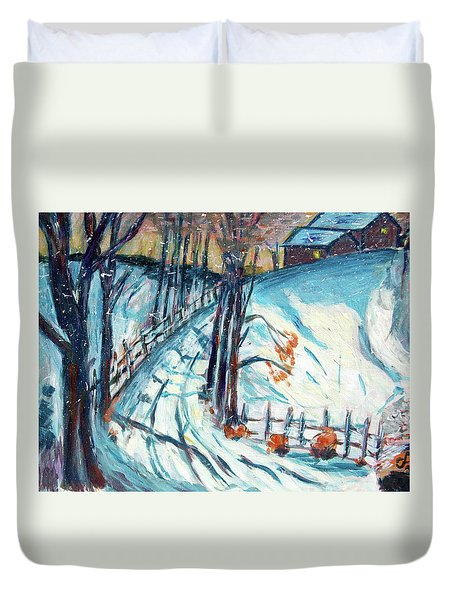 Snowy Road Duvet Cover by Carolyn Donnell
