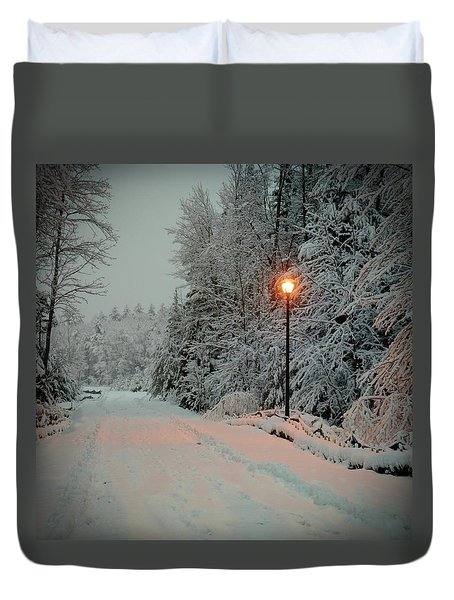 Snowy Road Duvet Cover