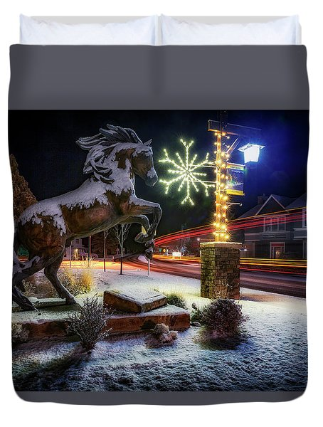 Duvet Cover featuring the photograph Snowy Sisters by Cat Connor