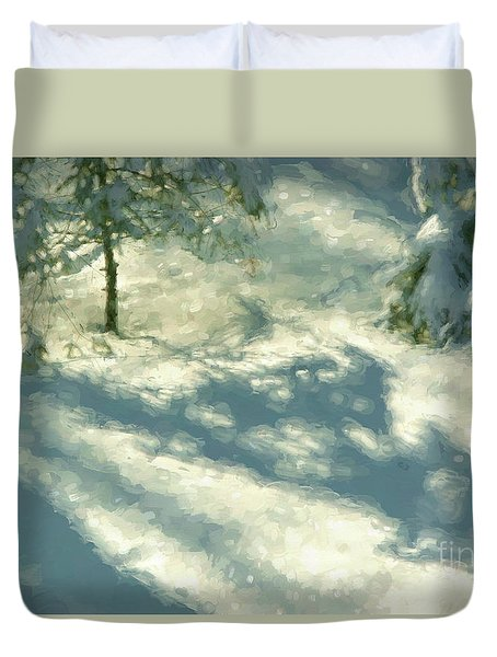 Snowy Spruce Shadows Duvet Cover