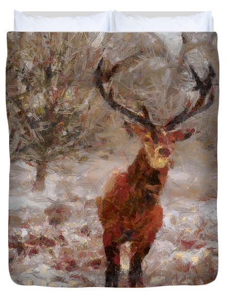 Snowy Stag Duvet Cover