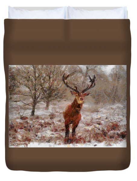 Duvet Cover featuring the digital art Snowy Stag by Charmaine Zoe