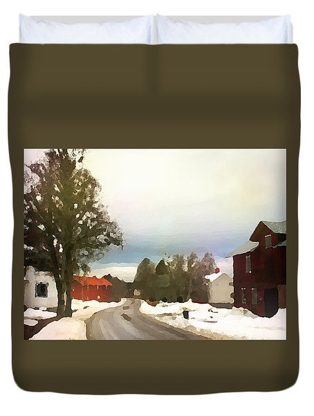 Snowy Street With Red House Duvet Cover