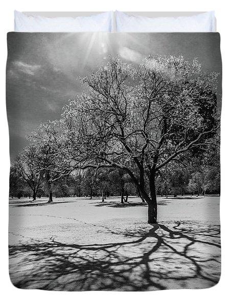 Snowy Sunburst Tree Duvet Cover