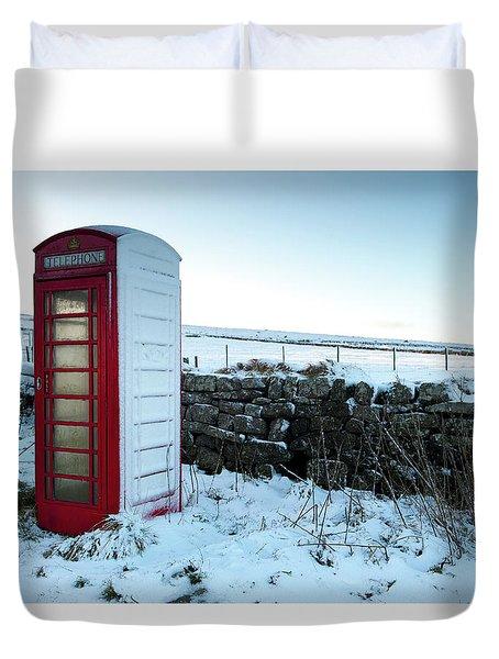 Snowy Telephone Box Duvet Cover