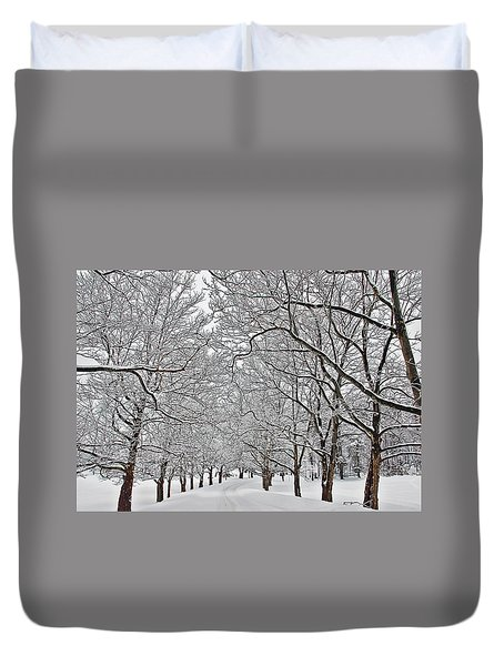 Snowy Treeline Duvet Cover by Aimee L Maher Photography and Art Visit ALMGallerydotcom