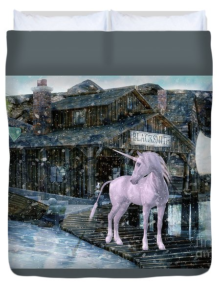 Snowy Unicorn Duvet Cover