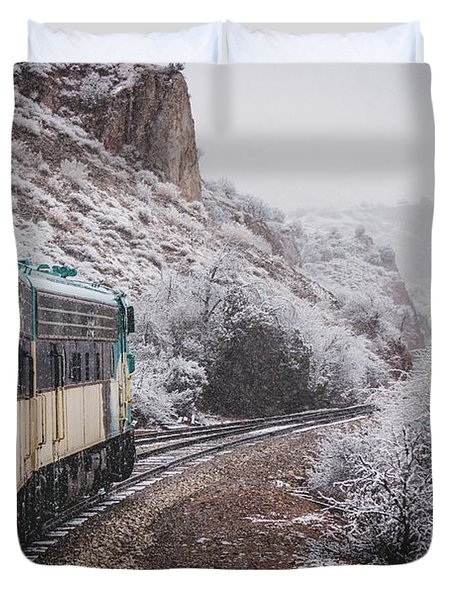 Snowy Verde Canyon Railroad Duvet Cover