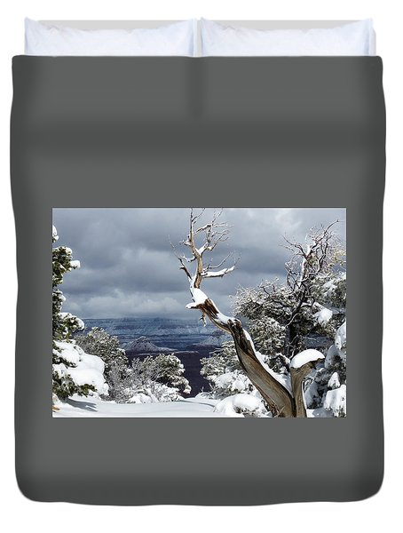 Snowy View Duvet Cover by Laurel Powell