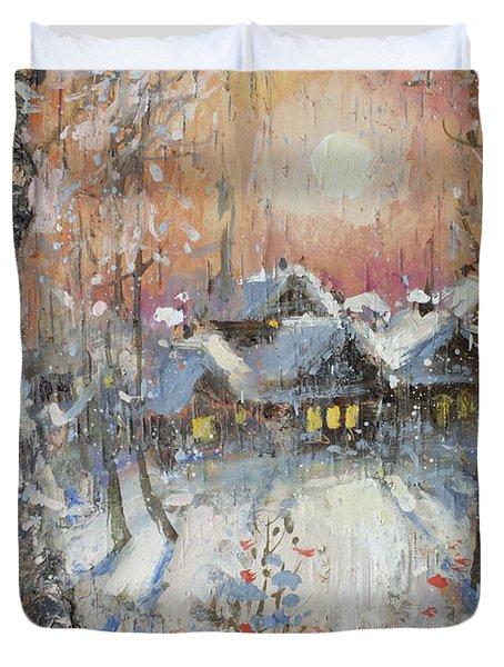 Snowy Village Duvet Cover