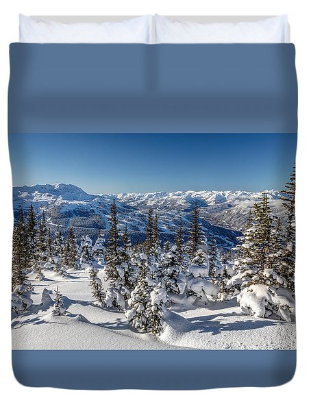 Snowy Whistler Mountain  Duvet Cover