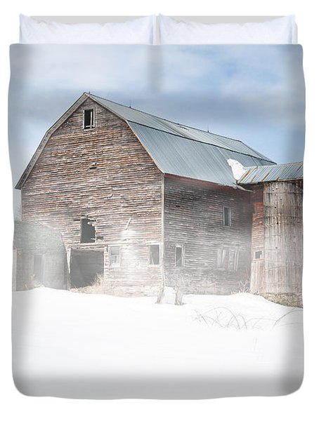 Snowy Winter Barn Duvet Cover