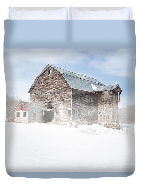 Duvet Cover featuring the photograph Snowy Winter Barn by Gary Heller