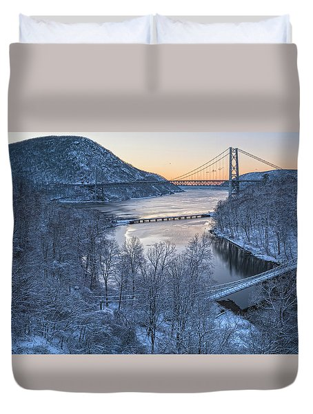 Snowy Winter Dawn At Three Bridges Duvet Cover