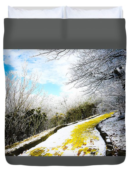 Snowy Yellow Brick Road Duvet Cover