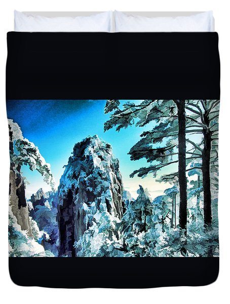Snowy Yellow Mountain Duvet Cover