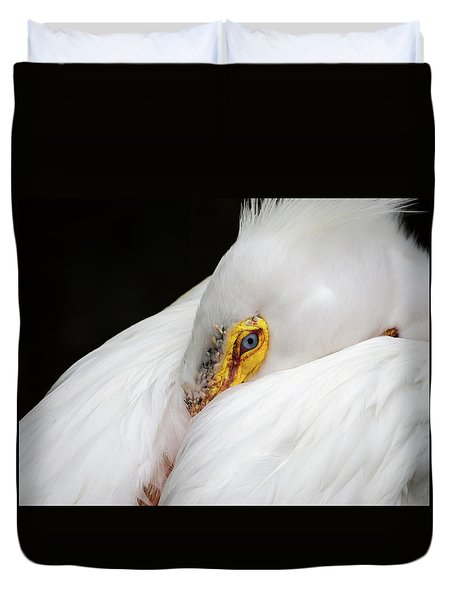 Snuggled White Pelican Duvet Cover