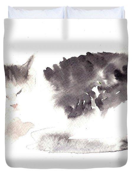 Snuggling Cat Duvet Cover