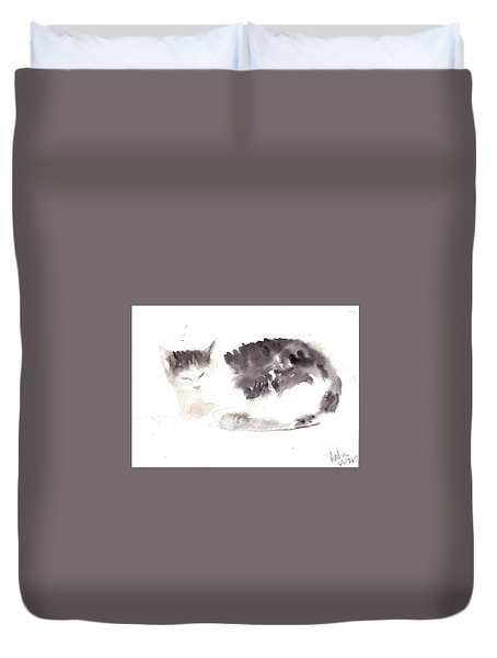Duvet Cover featuring the painting Snuggling Cat by Asha Sudhaker Shenoy