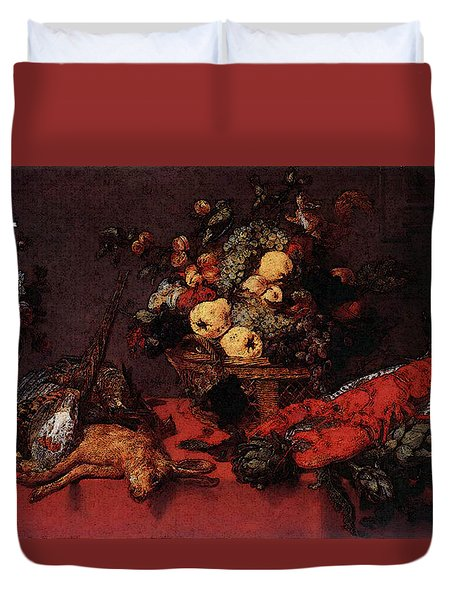 Snyders Frans Still Life With A Basket Of Fruit Duvet Cover by Frans Snyders