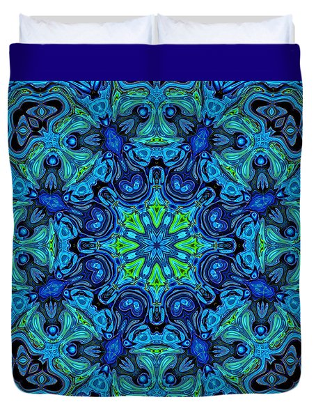 So Blue - 04v2 - Mandala Duvet Cover by Aimelle