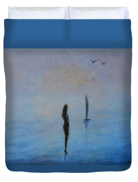 Duvet Cover featuring the painting So Close by Jane See